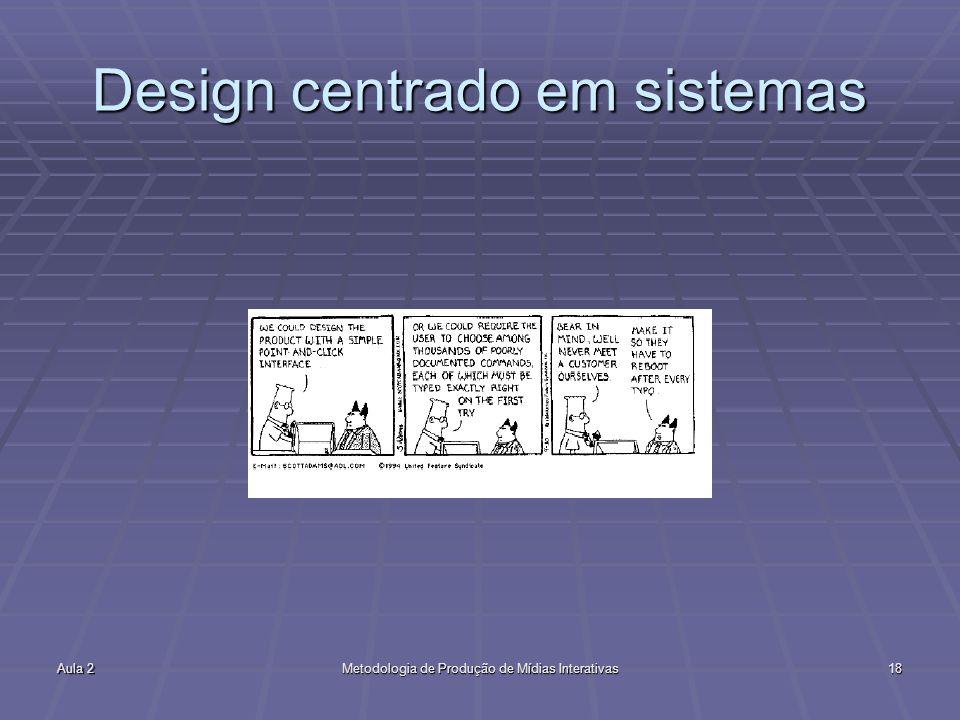 Aula 2Metodologia de Produção de Mídias Interativas18 Design centrado em sistemas