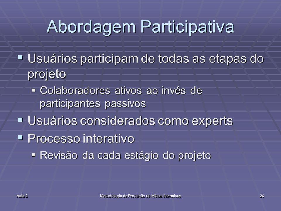 Aula 2Metodologia de Produção de Mídias Interativas24 Abordagem Participativa Usuários participam de todas as etapas do projeto Usuários participam de
