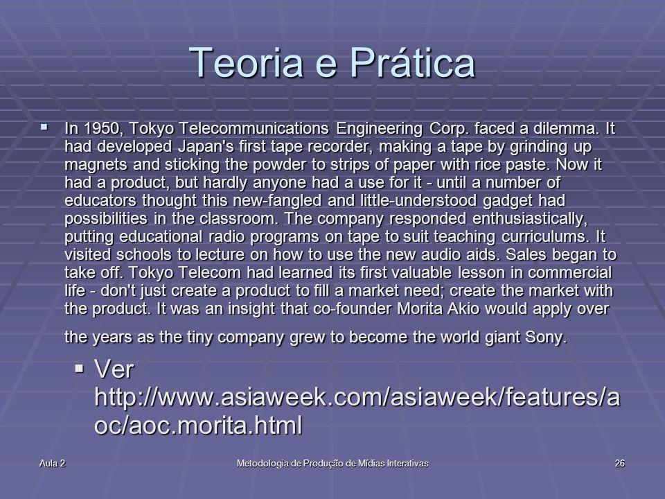 Aula 2Metodologia de Produção de Mídias Interativas26 Teoria e Prática In 1950, Tokyo Telecommunications Engineering Corp. faced a dilemma. It had dev