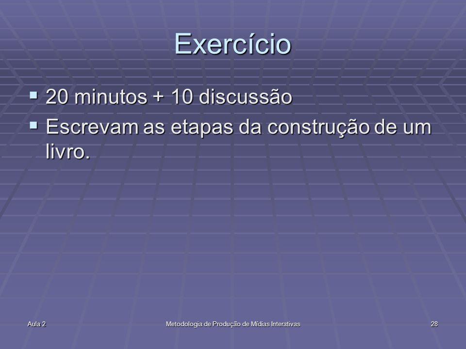 Aula 2Metodologia de Produção de Mídias Interativas28 Exercício 20 minutos + 10 discussão 20 minutos + 10 discussão Escrevam as etapas da construção d