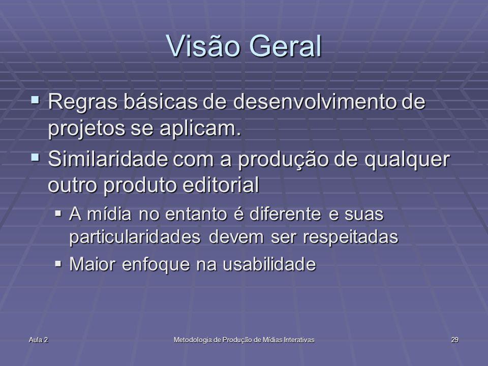 Aula 2Metodologia de Produção de Mídias Interativas29 Visão Geral Regras básicas de desenvolvimento de projetos se aplicam. Regras básicas de desenvol