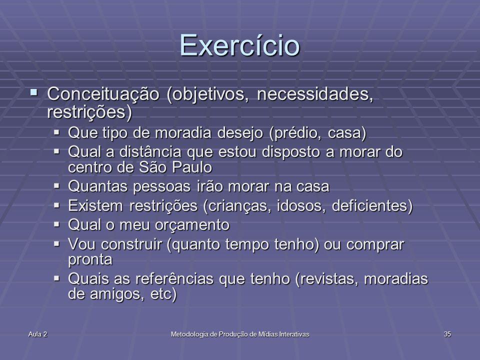 Aula 2Metodologia de Produção de Mídias Interativas35 Exercício Conceituação (objetivos, necessidades, restrições) Conceituação (objetivos, necessidad