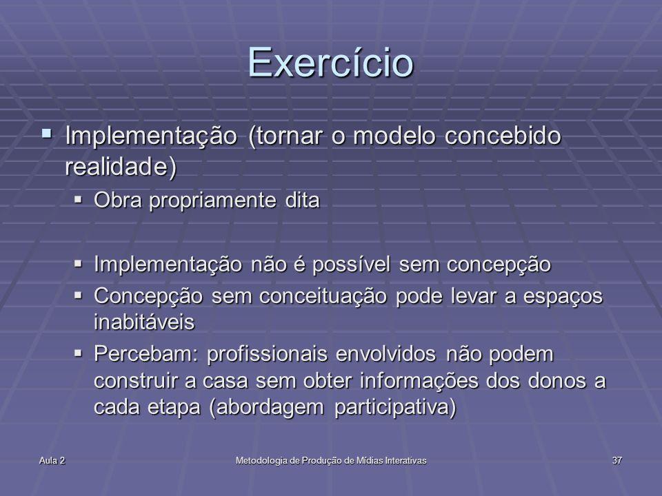 Aula 2Metodologia de Produção de Mídias Interativas37 Exercício Implementação (tornar o modelo concebido realidade) Implementação (tornar o modelo con