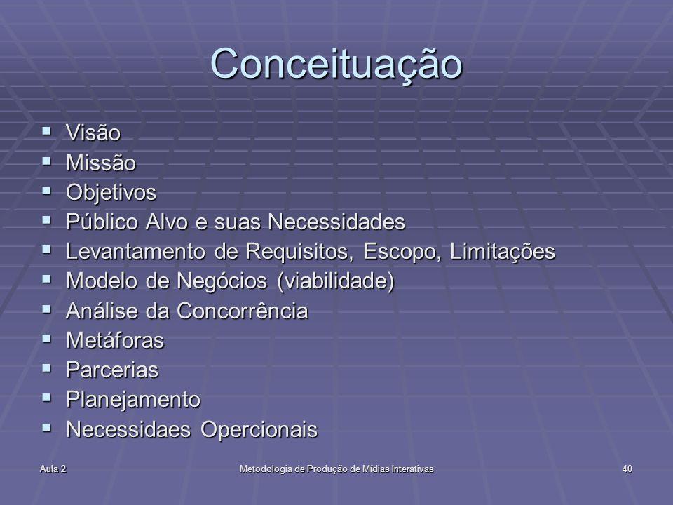 Aula 2Metodologia de Produção de Mídias Interativas40 Conceituação Visão Visão Missão Missão Objetivos Objetivos Público Alvo e suas Necessidades Públ