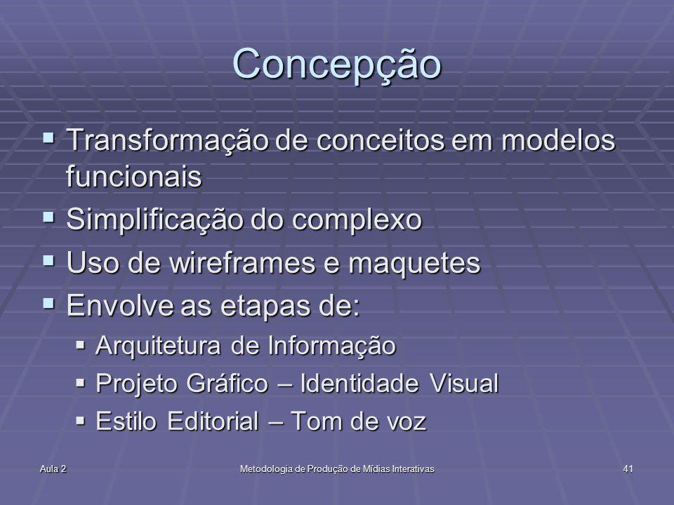 Aula 2Metodologia de Produção de Mídias Interativas41 Concepção Transformação de conceitos em modelos funcionais Transformação de conceitos em modelos