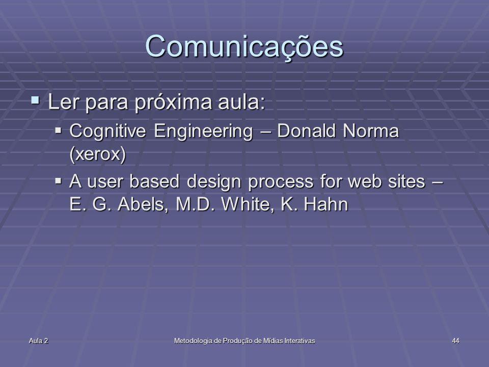 Aula 2Metodologia de Produção de Mídias Interativas44 Comunicações Ler para próxima aula: Ler para próxima aula: Cognitive Engineering – Donald Norma