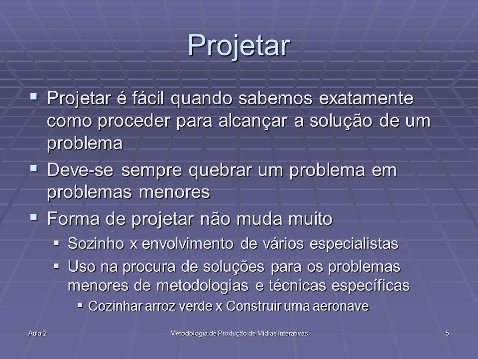 Aula 2Metodologia de Produção de Mídias Interativas5 Projetar Projetar é fácil quando sabemos exatamente como proceder para alcançar a solução de um p