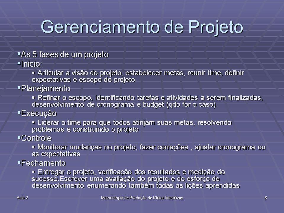 Aula 2Metodologia de Produção de Mídias Interativas8 Gerenciamento de Projeto As 5 fases de um projeto As 5 fases de um projeto Inicio: Inicio: Articu