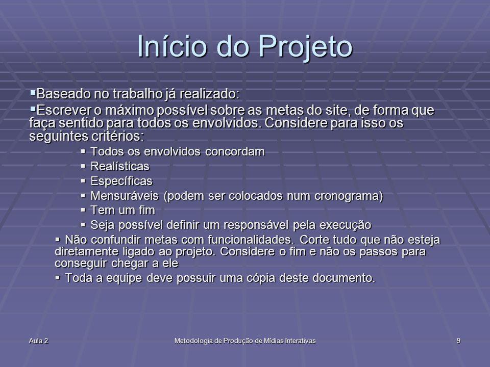 Aula 2Metodologia de Produção de Mídias Interativas9 Início do Projeto Baseado no trabalho já realizado: Baseado no trabalho já realizado: Escrever o
