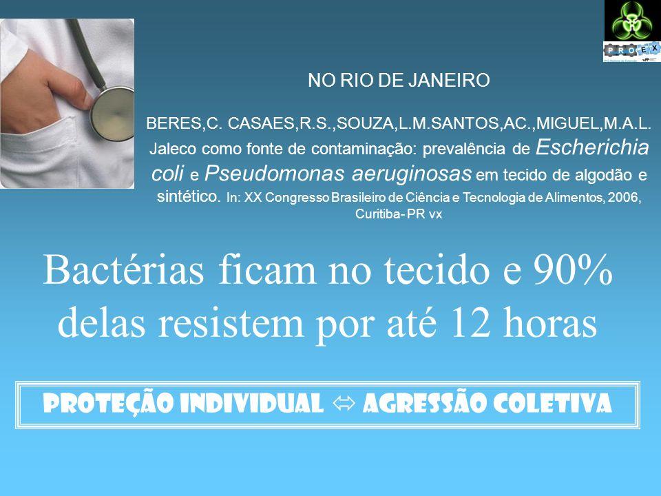 Bactérias ficam no tecido e 90% delas resistem por até 12 horas Proteção individual agressão coletiva NO RIO DE JANEIRO BERES,C. CASAES,R.S.,SOUZA,L.M