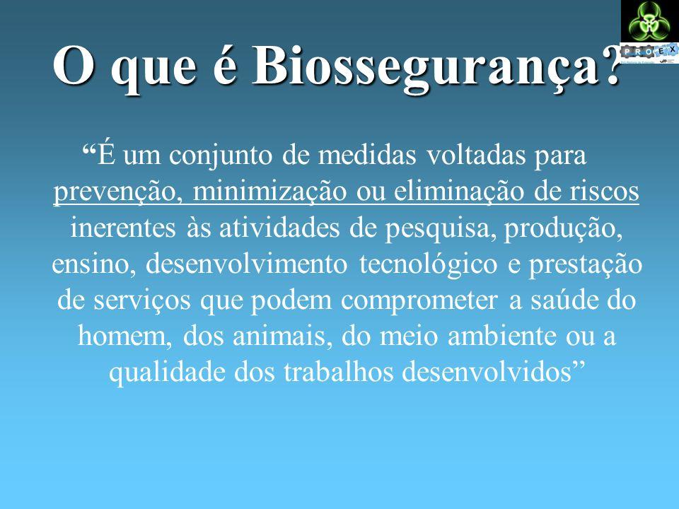 O que é Biossegurança? É um conjunto de medidas voltadas para prevenção, minimização ou eliminação de riscos inerentes às atividades de pesquisa, prod