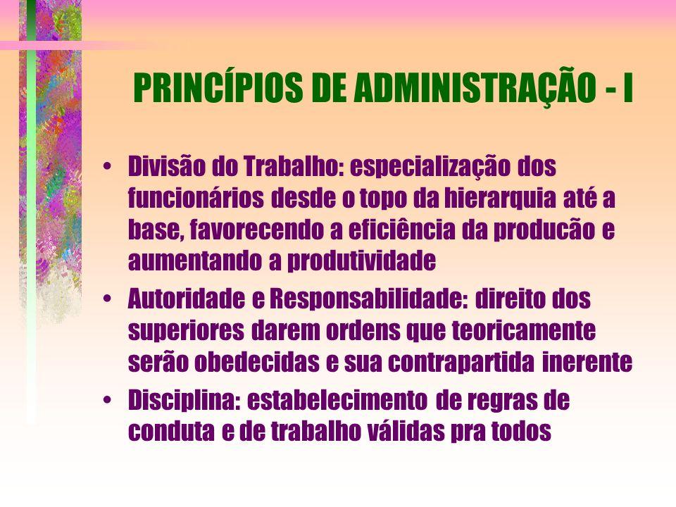 PRINCÍPIOS DE ADMINISTRAÇÃO - I Divisão do Trabalho: especialização dos funcionários desde o topo da hierarquia até a base, favorecendo a eficiência d