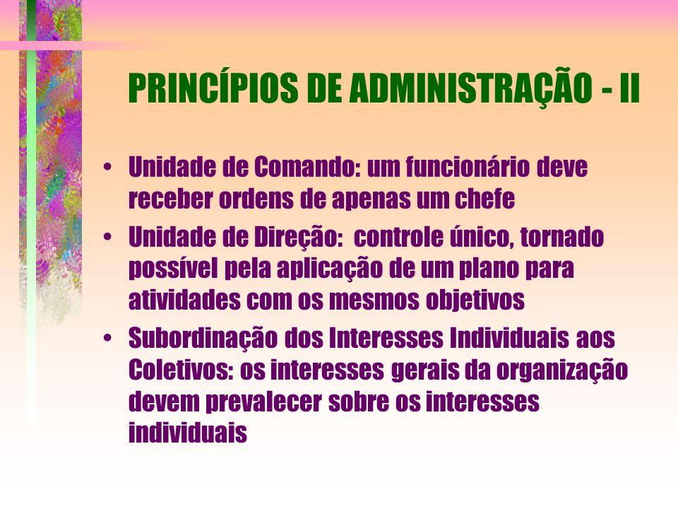 PRINCÍPIOS DE ADMINISTRAÇÃO - II Unidade de Comando: um funcionário deve receber ordens de apenas um chefe Unidade de Direção: controle único, tornado