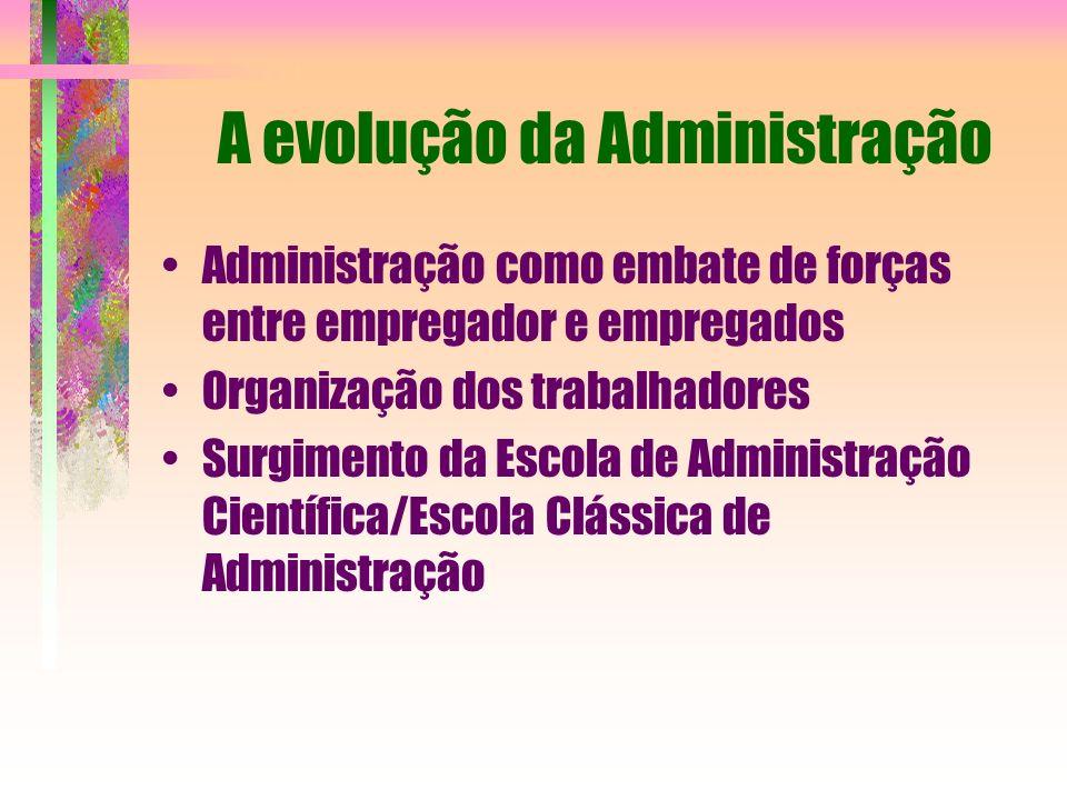 A evolução da Administração Administração como embate de forças entre empregador e empregados Organização dos trabalhadores Surgimento da Escola de Ad