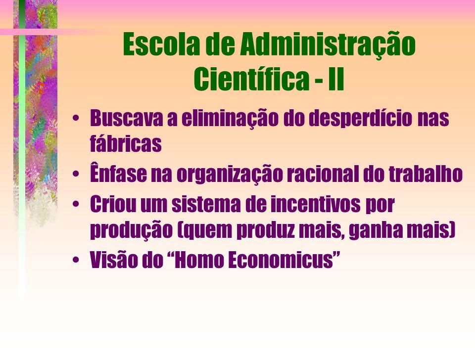 Escola de Administração Científica - II Buscava a eliminação do desperdício nas fábricas Ênfase na organização racional do trabalho Criou um sistema d