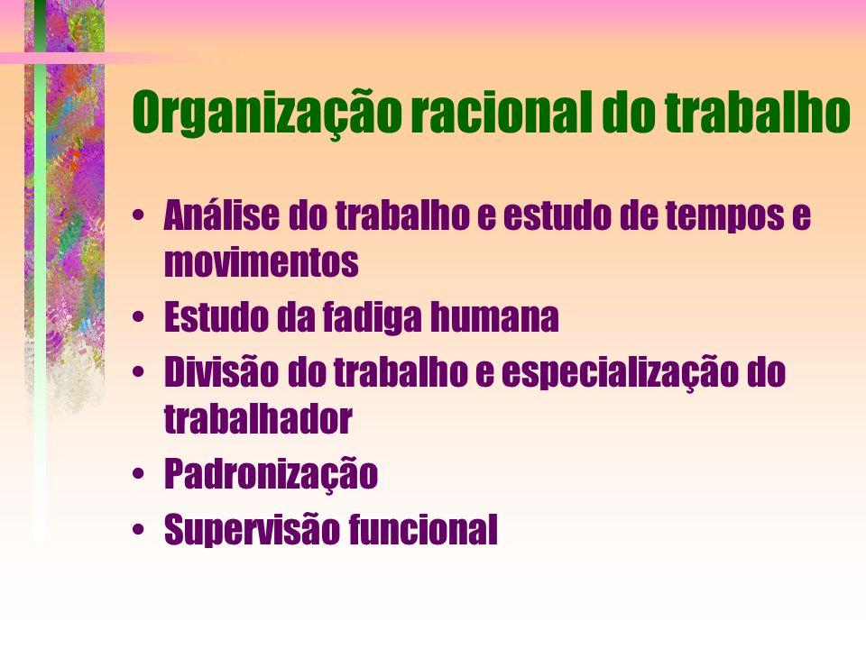 Organização racional do trabalho Análise do trabalho e estudo de tempos e movimentos Estudo da fadiga humana Divisão do trabalho e especialização do t