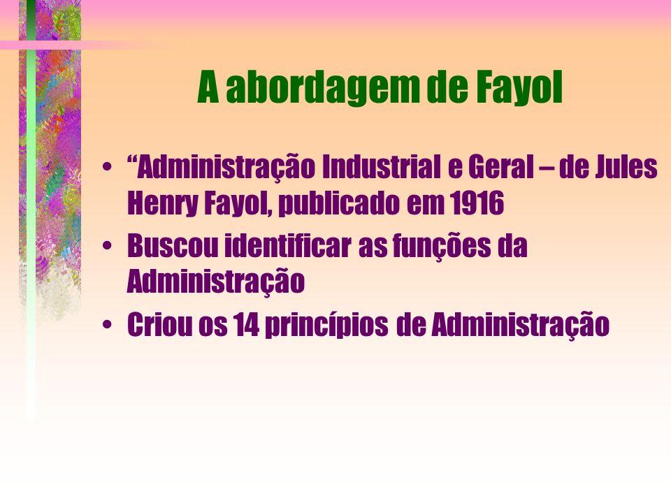 A abordagem de Fayol Administração Industrial e Geral – de Jules Henry Fayol, publicado em 1916 Buscou identificar as funções da Administração Criou o