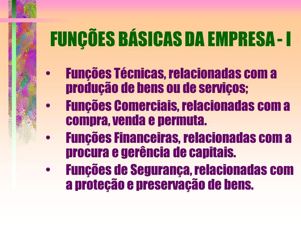 FUNÇÕES BÁSICAS DA EMPRESA - I Funções Técnicas, relacionadas com a produção de bens ou de serviços; Funções Comerciais, relacionadas com a compra, ve