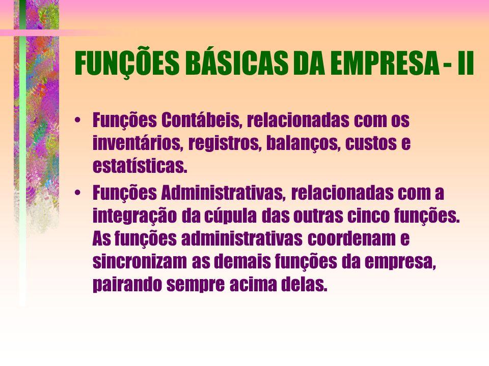 FUNÇÕES BÁSICAS DA EMPRESA - II Funções Contábeis, relacionadas com os inventários, registros, balanços, custos e estatísticas. Funções Administrativa