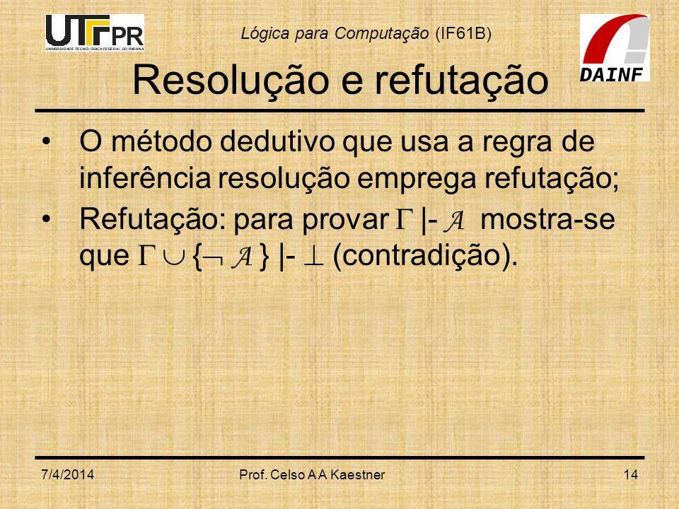 Lógica para Computação (IF61B) Resolução e refutação O método dedutivo que usa a regra de inferência resolução emprega refutação; Refutação: para prov