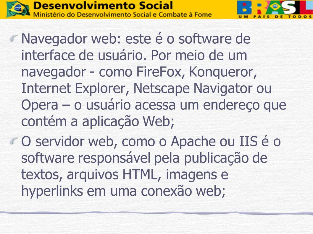 Navegador web: este é o software de interface de usuário. Por meio de um navegador - como FireFox, Konqueror, Internet Explorer, Netscape Navigator ou