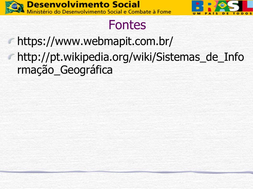 Fontes https://www.webmapit.com.br/ http://pt.wikipedia.org/wiki/Sistemas_de_Info rmação_Geográfica