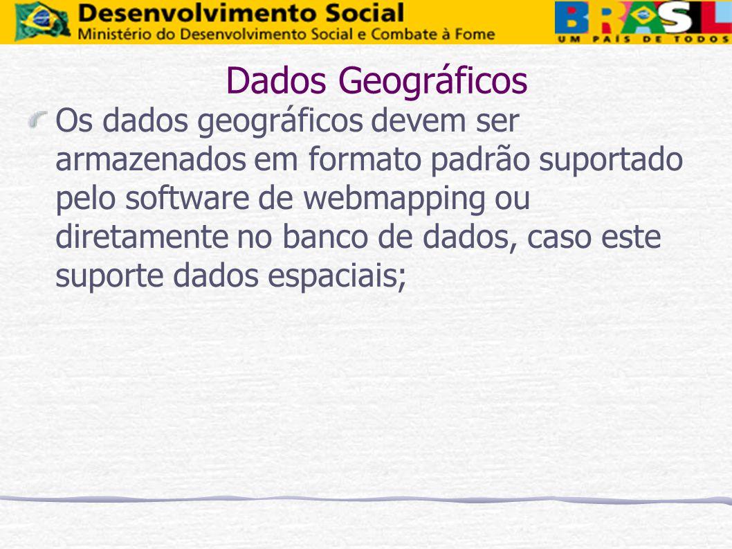 Os dados geográficos devem ser armazenados em formato padrão suportado pelo software de webmapping ou diretamente no banco de dados, caso este suporte
