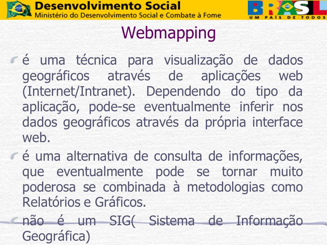Webmapping é uma técnica para visualização de dados geográficos através de aplicações web (Internet/Intranet). Dependendo do tipo da aplicação, pode-s