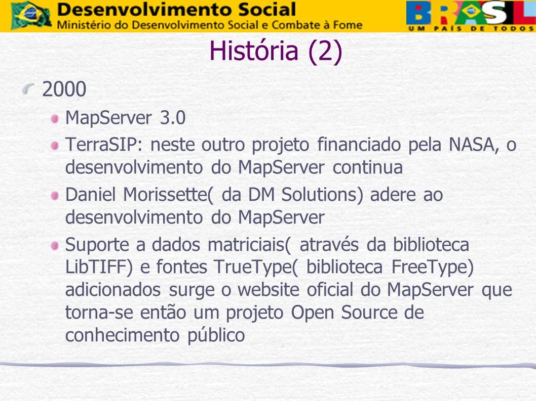 História (2) 2000 MapServer 3.0 TerraSIP: neste outro projeto financiado pela NASA, o desenvolvimento do MapServer continua Daniel Morissette( da DM S