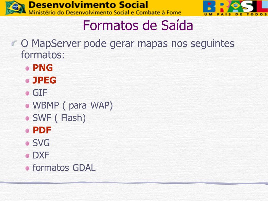 Formatos de Saída O MapServer pode gerar mapas nos seguintes formatos: PNG JPEG GIF WBMP ( para WAP) SWF ( Flash) PDF SVG DXF formatos GDAL