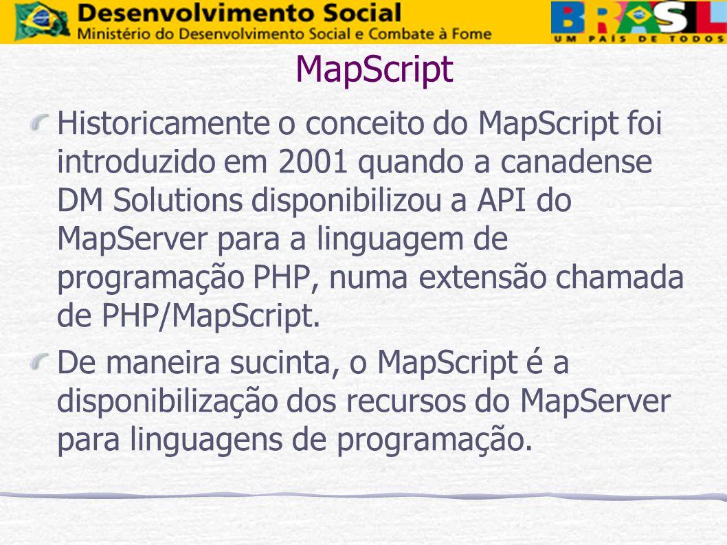 MapScript Historicamente o conceito do MapScript foi introduzido em 2001 quando a canadense DM Solutions disponibilizou a API do MapServer para a ling