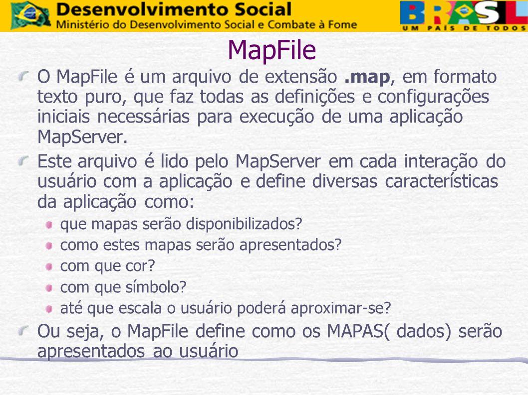 MapFile O MapFile é um arquivo de extensão.map, em formato texto puro, que faz todas as definições e configurações iniciais necessárias para execução