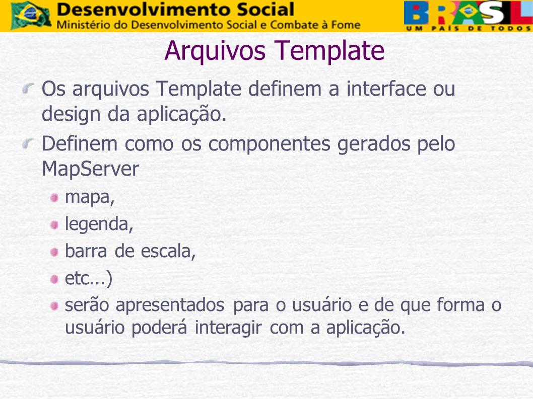 Arquivos Template Os arquivos Template definem a interface ou design da aplicação. Definem como os componentes gerados pelo MapServer mapa, legenda, b