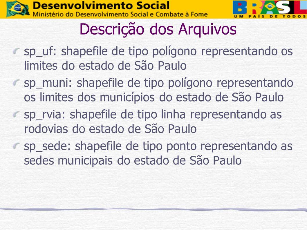 Descrição dos Arquivos sp_uf: shapefile de tipo polígono representando os limites do estado de São Paulo sp_muni: shapefile de tipo polígono represent