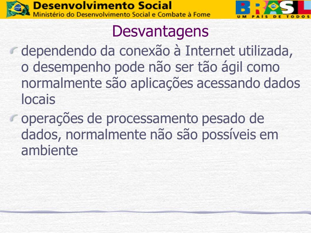 Desvantagens dependendo da conexão à Internet utilizada, o desempenho pode não ser tão ágil como normalmente são aplicações acessando dados locais ope