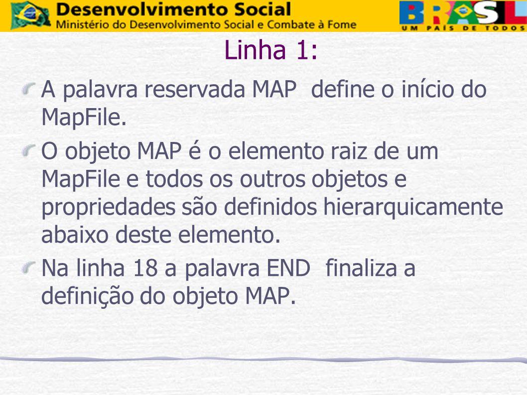 Linha 1: A palavra reservada MAP define o início do MapFile. O objeto MAP é o elemento raiz de um MapFile e todos os outros objetos e propriedades são