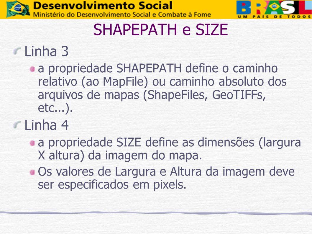 SHAPEPATH e SIZE Linha 3 a propriedade SHAPEPATH define o caminho relativo (ao MapFile) ou caminho absoluto dos arquivos de mapas (ShapeFiles, GeoTIFF