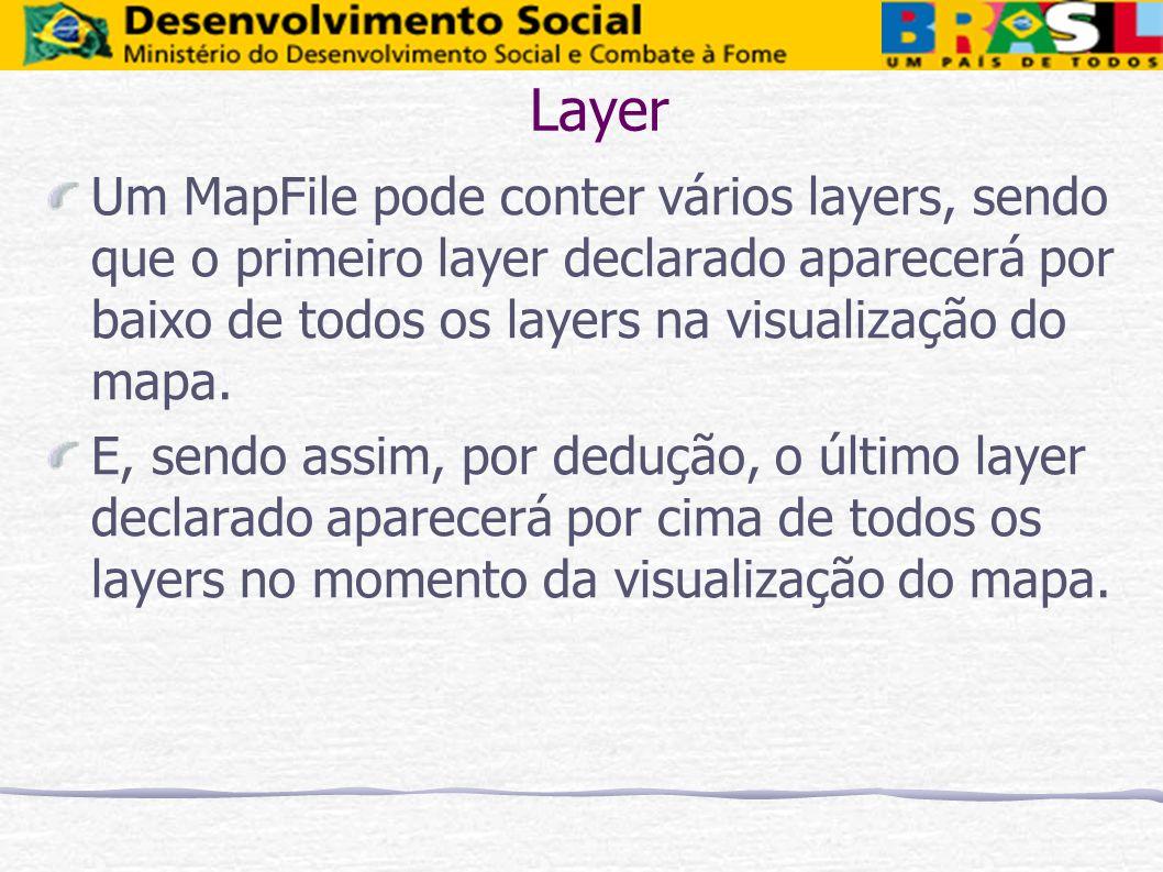 Layer Um MapFile pode conter vários layers, sendo que o primeiro layer declarado aparecerá por baixo de todos os layers na visualização do mapa. E, se