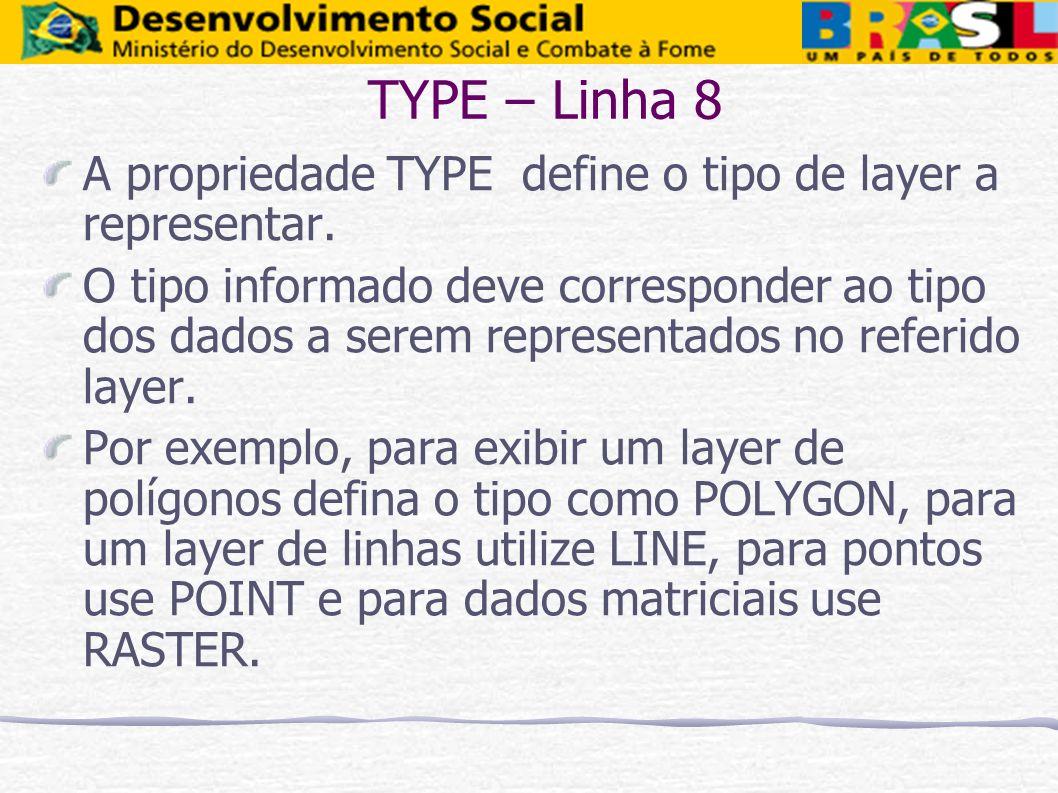 TYPE – Linha 8 A propriedade TYPE define o tipo de layer a representar. O tipo informado deve corresponder ao tipo dos dados a serem representados no