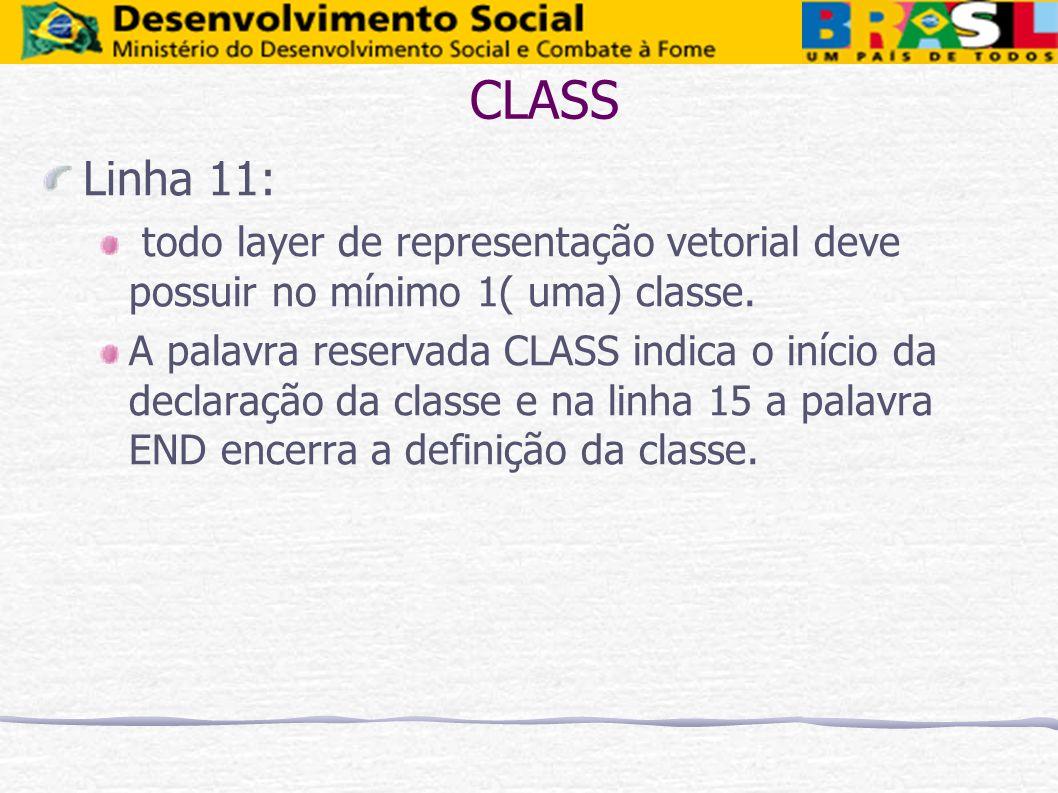 CLASS Linha 11: todo layer de representação vetorial deve possuir no mínimo 1( uma) classe. A palavra reservada CLASS indica o início da declaração da