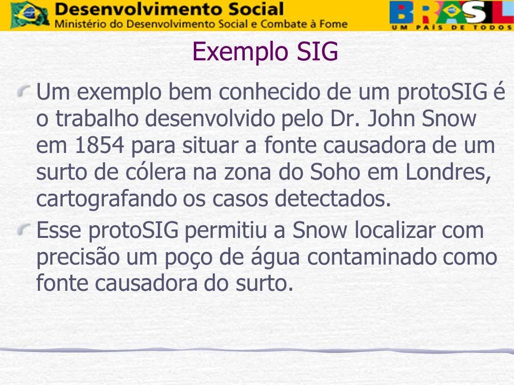 Exemplo SIG Um exemplo bem conhecido de um protoSIG é o trabalho desenvolvido pelo Dr. John Snow em 1854 para situar a fonte causadora de um surto de