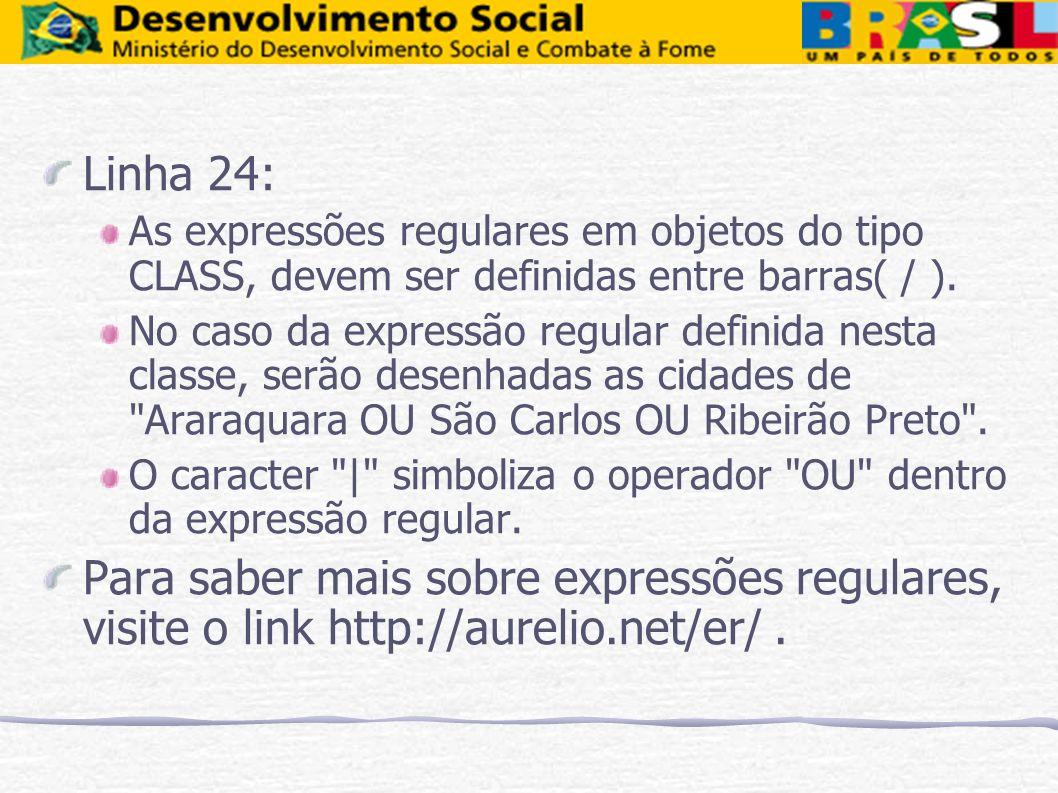 Linha 24: As expressões regulares em objetos do tipo CLASS, devem ser definidas entre barras( / ). No caso da expressão regular definida nesta classe,