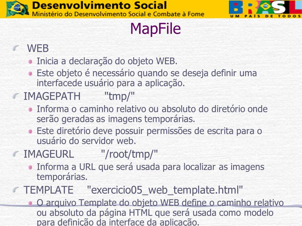 MapFile WEB Inicia a declaração do objeto WEB. Este objeto é necessário quando se deseja definir uma interfacede usuário para a aplicação. IMAGEPATH