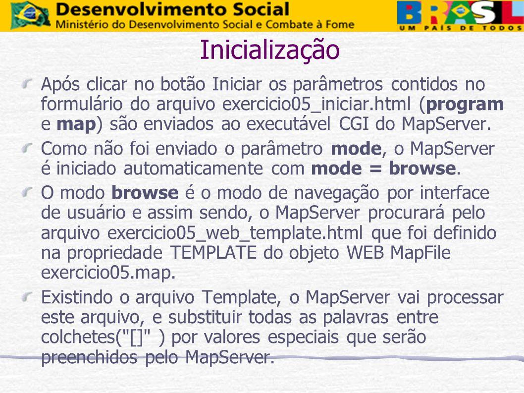 Inicialização Após clicar no botão Iniciar os parâmetros contidos no formulário do arquivo exercicio05_iniciar.html (program e map) são enviados ao ex