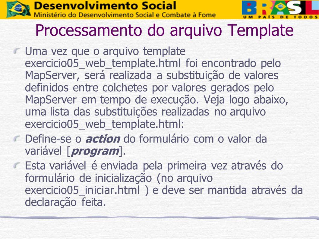 Processamento do arquivo Template Uma vez que o arquivo template exercicio05_web_template.html foi encontrado pelo MapServer, será realizada a substit