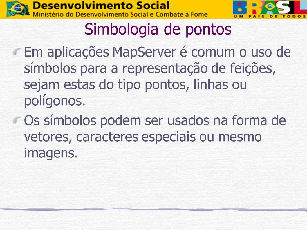 Simbologia de pontos Em aplicações MapServer é comum o uso de símbolos para a representação de feições, sejam estas do tipo pontos, linhas ou polígono