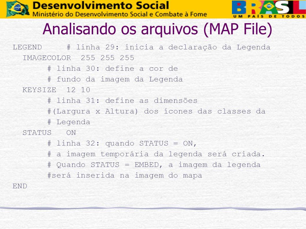 Analisando os arquivos (MAP File) LEGEND # linha 29: inicia a declaração da Legenda IMAGECOLOR 255 255 255 # linha 30: define a cor de # fundo da imag