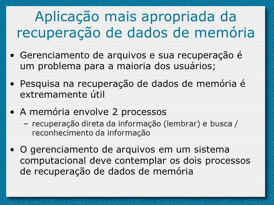 Aplicação mais apropriada da recuperação de dados de memória Gerenciamento de arquivos e sua recuperação é um problema para a maioria dos usuários; Pe