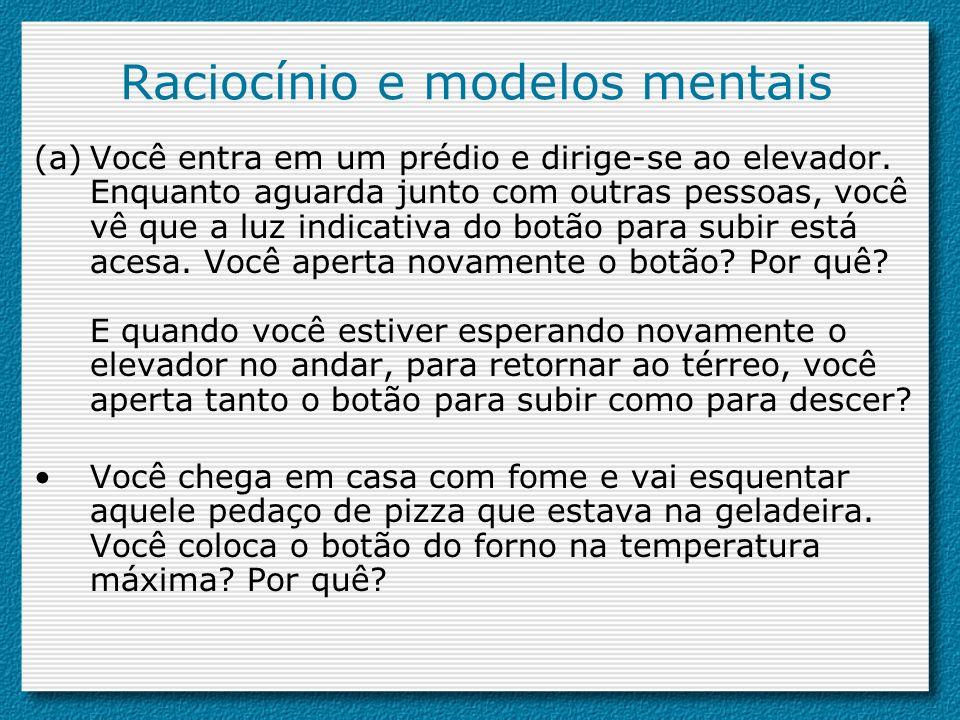 Raciocínio e modelos mentais (a)Você entra em um prédio e dirige-se ao elevador. Enquanto aguarda junto com outras pessoas, você vê que a luz indicati