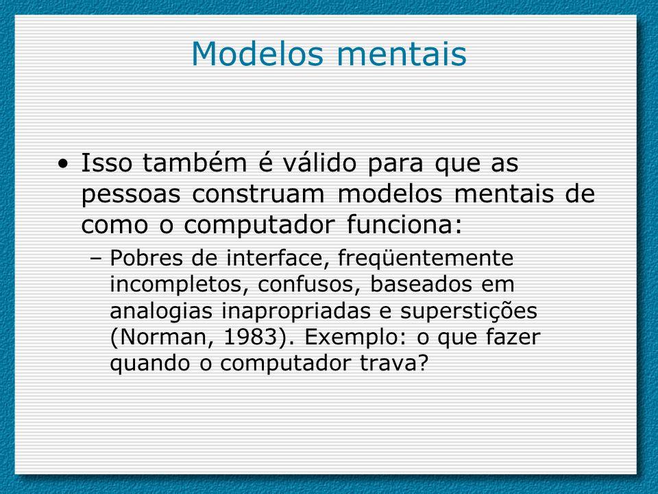 Isso também é válido para que as pessoas construam modelos mentais de como o computador funciona: –Pobres de interface, freqüentemente incompletos, co